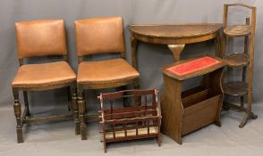 VINTAGE & LATER FURNITURE PARCEL, 6 pieces to include a half-moon hall table, two reproduction