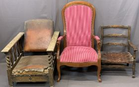 VINTAGE & LATER ARMCHAIRS (3) including an oak barley twist example with adjustable back (for