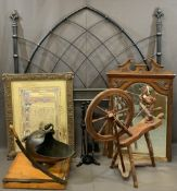 MIXED VINTAGE & LATER FURNISHINGS GROUP to include a Gothic style metal headboard, 144cms H,