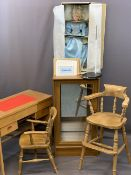 CHILD'S DESK, Windsor type armchair, highchair with curved spindle back, Danbury Mint collector's