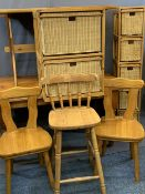 REPRODUCTION PINE FURNITURE GROUP, 7 pieces to include a rectangular top farmhouse type table on