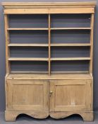 VINTAGE STRIPPED PINE KITCHEN TYPE DRESSER, neatly proportioned, the open back rack with moulded