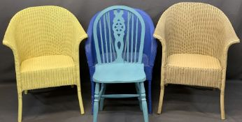 LLOYD LOOM LUSTY WICKER ARMCHAIRS (2) and two others, 78cms H, 64cms W, 43cms seat depths the