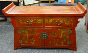 MODERN CHINESE RED LACQUER-STYLE LOW TABLE CABINET, 126cms wide