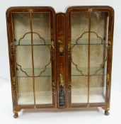 1930s TURNIDGE WALNUT & CHINOISERIE DECORATED DISPLAY CABINET, 105 x 31 x 117cms