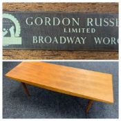 GORDON RUSSELL LTD: A TEAK COFFEE TABLE, 102 x 46cms