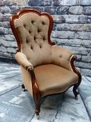 VICTORIAN WALNUT ARMCHAIR, button upholstered back, padded arms and stuffover serpentine seat,