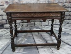 18TH CENTURY & LATER OAK TABLE, boarded and moulded top, carved frieze, baluster turned legs and bar