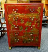 MODERN CHINESE RED LACQUER-STYLE TEN-DRAWER CHEST, 77cms wide