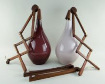 LARGE MID-CENTURY PAIR OF SCANDINAVIAN TEAK & GLASS SCISSOR WALL LIGHTS, colour-cased teardrop
