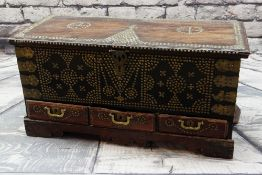 ZANZIBAR TEAK TRUNK, applied brass stud work, apron drawers, interior with candle box