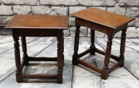 PAIR OF 17TH CENTURY-STYLE JOINED OAK STOOLS, 45cms wide (2)