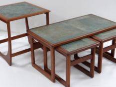 G-PLAN 'ASTRO' TILED TEAK OCCASIONAL TABLE, designed by Victor Williams, and a similar tiled nest of