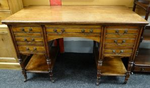 LATE VICTORIAN MAHOGANY KNEEHOLE DESK, fitted seven drawers on turned legs, tied by platform