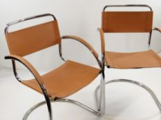 "EFFEZETA: A PAIR OF LEATHER & TUBULAR STEEL CHAIRS, tan leather stamped ""Made in Italy, 98,"