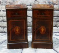 PAIR OF REPRODUCTION MAHOGANY MARQUETRY BEDSIDE TABLES, with satinwood crossbanded drawers and