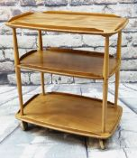 ERCOL: A PALE ELM THREE-TIER TEA TROLLEY, 71 x 46 x 77cms
