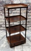 EARLY 19TH CENTURY MAHOGANY FOUR-TIER WHATNOT, 3/4 gallery top, turned supports, drawer base,