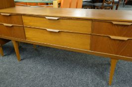 MID-CENTURY TEAK AUSTINSUITE SIDEBOARD, fitted six drawers, gilt stamp inside, 159 x 43 x 69cms (
