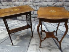 TWO EDWARDIAN ROSEWOOD MARQUETRY OCCASIONAL TABLES, 64 x 47cms wide respectively (2)