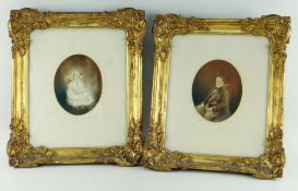 PAIR OF VICTORIAN OVAL PHOTOGRAPHIC PORTRAIT PRINTS for antique furnishing purposes in