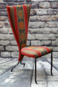 MODERN CAST IRON HALL CHAIR, with red striped upholstery