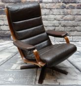 VINTAGE GOTE-MOBLER SWEDISH 'G-MOBEL' BROWN LEATHER LOUNGE ARMCHAIR, on swivel base