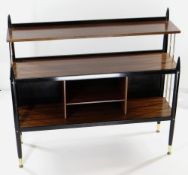 MID-CENTURY MAHOGANY & PART EBONISED BOOKCASE with gilt metal rod sides and feet, 106 x 32 x 96cms