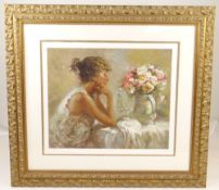 JOSE ROYO limited edition (AP39/50) serigraph - Pensitiva, a girl by a table with flowers, signed