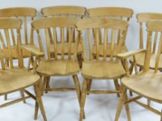 SET OF EIGHT MODERN BEECH KITCHEN CHAIRS, including two arm chairs (8)