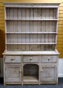 VICTORIAN STRIPPED PINE 'DOG KENNEL' DRESSER, with boarded rack, on base with three frieze drawers