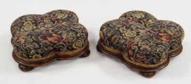 PAIR OF VICTORIAN QUATREFOIL WALNUT FOOTSTOOLS, 30cms diam. (2)