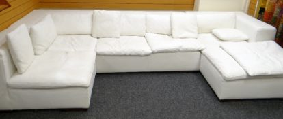CONTEMPORARY ITALIAN 'VERDESIGN' WHITE LEATHER MODULAR SOFA SUITE, three separate units with ten