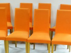 DIDIER GOMEZ FOR LIGNE-ROSET: SET OF EIGHT DINING CHAIRS, upholstered in orange fabric (