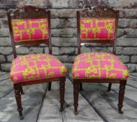 PAIR OF VICTORIAN WALNUT DINING CHAIRS, upholstered in contemporary Versace-style cloth (2)