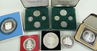 ASSORTED SILVER COINS comprising 1974 & 1978 Commonwealth of the Bahamas ten dollar coins, 1977