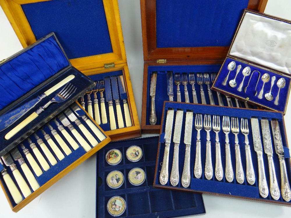 EARLY 20TH CENTURY BOXED TABLE WARES & COMMEMORATIVE COINS, comprising George V silver coffee