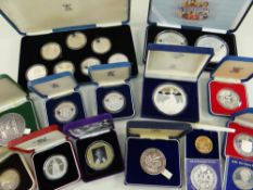 ASSORTED BOXED COMMEMORATIVE SILVER COINS comprising Queen Mother 1980 80th birthday collection,