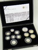 ROYAL MINT 2009 UK SILVER PROOF COIN SET, cased with Certificate of Authenticity, No. 3581,