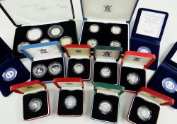 ASSORTED CASED SILVER ROYAL MINT COINS comprising United Kingdom 2007 Piedfort Collection with