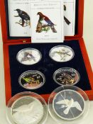 ASSORTED SILVER COLLECTIBLE BIRD COINS comprising cased New Zealand Mint 'Birds Of New Zealand'