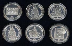 COLLECTION OF SIX SILVER 'MILESTONES OF THE MILLENNIUM' COINS comprising 2 x Edward VII's Standing