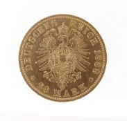 FRIEDRICH III GOLD 20 MARK COIN, 1888, German States - Prussia, 8.0gms