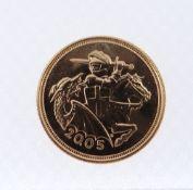 ELIZABETH II GOLD HALF SOVEREIGN, 2005, 4.0gms