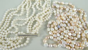 PEARLS comprising long string of cultured pearls, 200cms long, together with five row cultured pearl