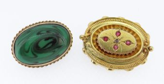 9CT GOLD OVAL MALACHITE BROOCH together with yellow metal ruby and diamond set brooch, 19.5gms (2)