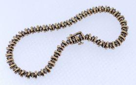 9CT GOLD DIAMOND SET BRACELET, 20cms long, 15.6gms Condition Report: No stones appear missing.