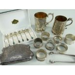 ASSORTED SILVER & EPNS comprising boxed set of six sterling silver coffee spoons, 2 x EPNS