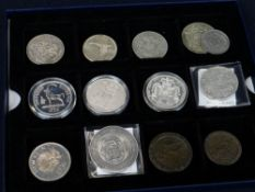 ASSORTED COLLECTABLE COINS & MEDALLIONS including 1835 and 1836 Gulielmus IIII crowns, 1868 Napoleon