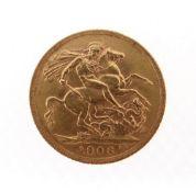 EDWARD VII GOLD SOVEREIGN, 1906, 8.0gms